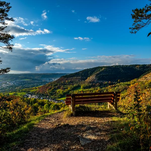 A bench overlooking a valley with houses, blue sky on the horizon
